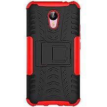 """Funda Meizu M2 Note, SsHhUu Heavy Duty Amortiguamiento Cubrir Doble Capa Combinaci¨®n de Armadura con Soporte Protector Cubrir Case para Meizu M2 Note / Meizu Azul Charm Note2 (5.5"""") Rojo"""