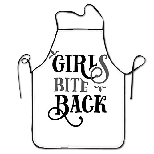 dfhfdsh Delantal de Cocina,Funny Personality Apron Girls Bite Back Funny Quote Hand Drawn Vintage Girls Bite Back Funny Quote Hand Drawn Vintage Chef Kitchen Aprons Waiter Apron