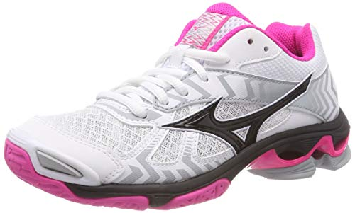Mizuno Damen Shoe Wave Bolt WOS Sneakers, Mehrfarbig (White/Black/Pinkglo 001), 40 EU