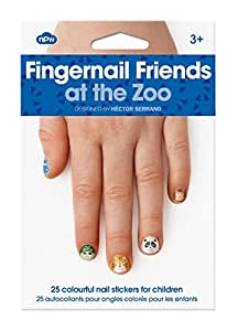 NPW Girl's Stick On Nail Art Stickers Decals  - Zoo Animals Fingernail Friends Nail Decoration Stickers