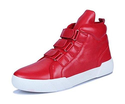 SHINIK Männer Sportschuhe Casual Board Schuhe reine Farbe flache Schnalle in den staatlichen Schuhe Red