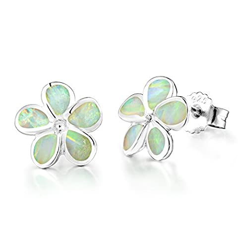 Dormith® women's 925 sterling silver synthetic white fire opal inlay flowers stud earrings (White)