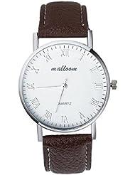 Relojes de hombre automaticos Sannysis reloj análogo de cuero (C)