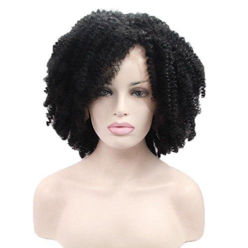 DAYYN 16 Zoll Damen Synthese Manuelles Vordere Spitze lebensecht Kurze Perücke Kleines lockiges Haar Perücke Setzt Schwarz -