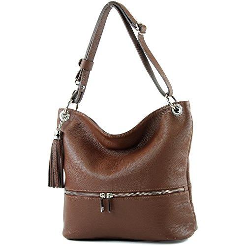 modamoda de - ital. Ledertasche Damentasche Umhängetasche Tasche Schultertasche Leder T143, Präzise Farbe:Braun