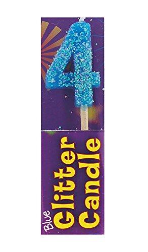 Islander Fashions Girls Boys Alles Gute zum Geburtstag Glitter Kerzen Unisex Fancy Party Zubeh�r Pack von 12 4. Geburtstag Blue One Size