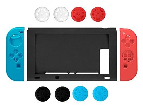 Nintendo Switch Case, Chickwin Silicona suave duradera flexible antideslizante funda protectora de silicona de silicona para Nintendo Switch (Azul-Rojo)