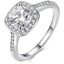 Amor Eterno Mujeres Boda Compromiso Anillos 18K Oro Plateado Cz Diamantes Marcas Solitarias Princesa Corte Promesa Aniversario Novia Joyería Amor Infinito por Ella