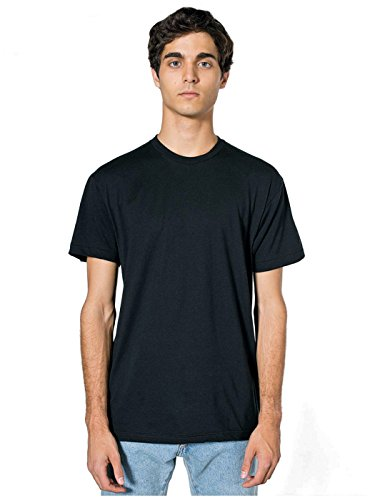 American Apparel Unisex Poly / Baumwoll-Short Sleeve Crew Neck - Black Aqua - L