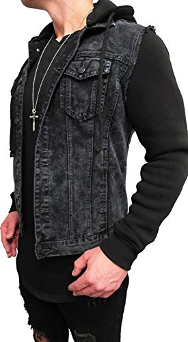 kapuzen jeansjacke denim jeans jacke kapuzenjacke hoodie. Black Bedroom Furniture Sets. Home Design Ideas