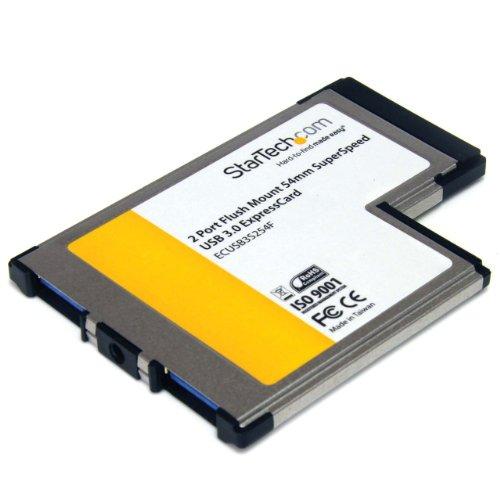 Startech.Com Adattatore Scheda ExpressCard SuperSpeed USB 3.0 da 54 mm a Scomparsa a 2 Porte con Supporto UASP, Nero/Antracite