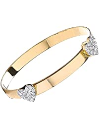 9ct Yellow Gold Baby Girl Bangle with CZ Hearts