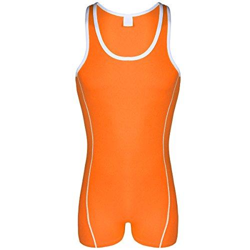 85c2ab7ec4 IWEMEK Herrenbody Einteiler Männerbody Sportbody Overall Fitness Unterwäsche  Baumwolle Unterhemd Wrestlingbody Bodys Nachtwäsche Orange XL