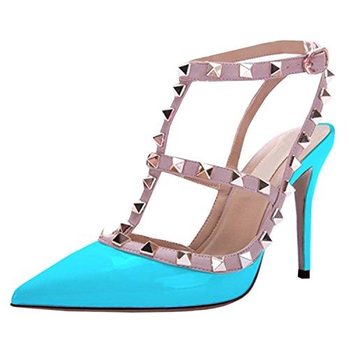 Oasap Femme Chaussure A Talons Hauts Rivet Décoration Talons Aiguilles Bout Fermé blue