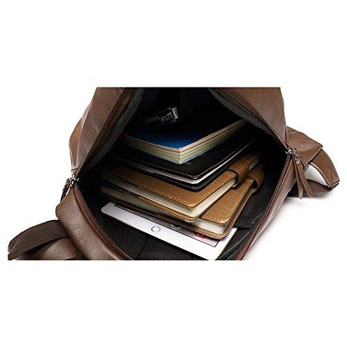Outreo Schultertasche Herren Brusttasche Leder Umhängetasche Reisen Reisetasche Ledertasche Vintage Tasche Handtasche Sporttasche für Sport Braun