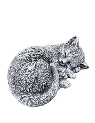 Steinfigur kleine Katze Tinka eingerollt (8x17x14 cm), Frost- und wetterfest bis -30°C, massiver Steinguss