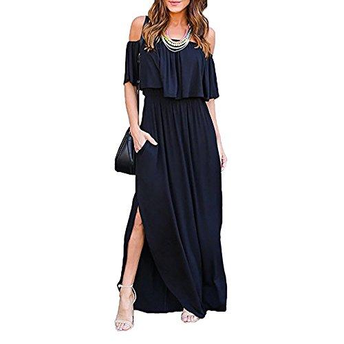 Lylafairy senza spalline vestito, donna elegante lunghi estivi vestito a tubino maxi abito da spiaggia banchetto vacanza (m, nero)