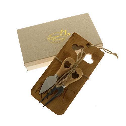 GUSTO Set formaggio con tagliere legno 10x20cm scatola regalo BOMBONIERA