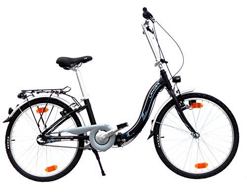 24 Zoll Lander Faltrad 3 Gang Aluminiumrahmen StVZO-Ausstattung schwarz matt
