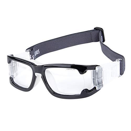 Yiwa Schutzbrille -Augenschutz, Männer Frauen,Sport-Augenschutzbrille Halbrahmen-PC-Objektivbrille für Fußball im Freien Golf Helles Schwarz