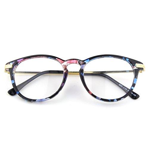 CN92 Klassische Nerdbrille rund Keyhole 40er 50er Jahre Pantobrille Vintage Look clear lens,Mehrfarbig