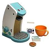 TikTakToo Spielküche aus Holz Natur zum Mitnehmen mit reichhaltigem Zubehör, Töpfe, Teller, Mixer für Kinder aus Holz, Toaster (Kaffeemaschine)