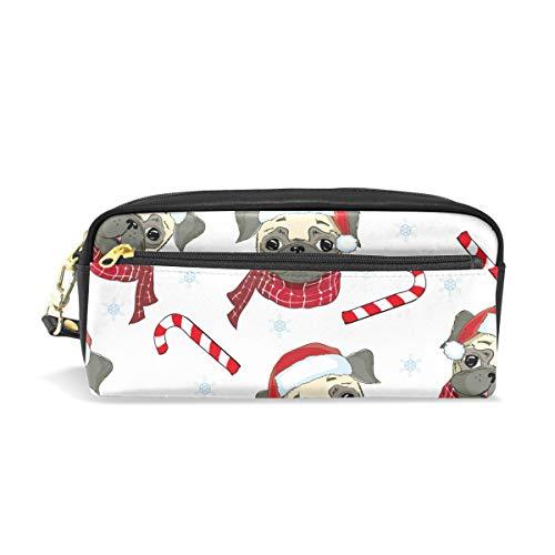 Bonipe Federmäppchen mit niedlichem Mops, roter Weihnachtsmütze, für Stifte, für Schule, Schreibwaren, Zubehör für Reisen und Kosmetik