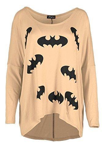 Damen Batman Aufdruck Lagenlook Überdimensional Hoch Niedrig Gestrickt Baggy Rundhalsausschnitt Schulterfrei T-shirt Top Kamel