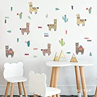 FUZILV Cartoon Animals Indian Style Alpacas Wall Stickers Llama For Nursery Kids Rooms Wall Decor Wall Art Home Decoration Accessories20X50Cm