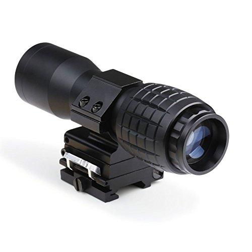 4x Magnifier FTS mit Push Button Flip To Side Weavermontage, inkl. FlipUp Caps - schwarz… (Gewehr-ziel-praxis)