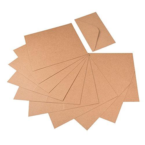 Jumbo Set, Umschläge und Faltkarten aus Naturkarton, 50 Karten + 50 Umschläge in quadratisch und DIN Lang, 100 Teile in einem Set, ideal zum Selbstgestalten - 5