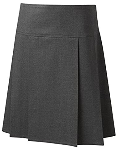 School Uniform Senior Drop Waist Pleated Skirt Grey 28