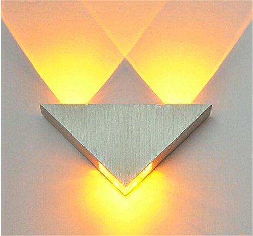 Moderne Led Wandleuchte 3 Watt Aluminium Körper Dreieck Wandleuchte Für Schlafzimmer Home Beleuchtung Leuchte Badezimmer Leuchte Wandleuchte, gelb