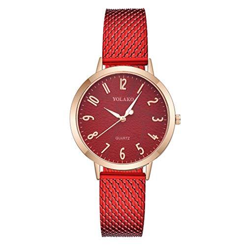 Kinlene Damen Uhr Einfache Mode Damen Mesh Strap Uhr Strass Zifferblatt Volltonfarbe Band Uhren