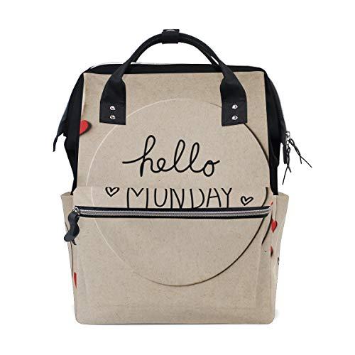 Ich liebe Happy Monday Worte große Kapazität Wickeltaschen Mama Rucksack Multi Funktionen Windel Pflege Tasche Tote Handtasche für Kinder Babypflege Reisen täglich Frauen