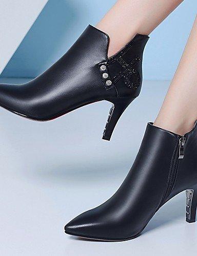 ShangYi Mode Frauen Schuhe Damen Schuhe Herbst/Winter Combat Boots PU-Kleid / Casual Stilettabsatz Reißverschluss Schwarz / Rot Walking Rot