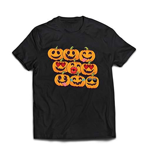lepni.me Männer T-Shirt Kürbis Emoji Lustiges Halloween-Party-Kostüm (XXXX-Large Schwarz Mehrfarben)