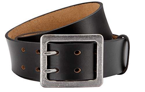 Eg-Fashion Herren Jeansgürtel aus Büffelleder stylische Doppeldorn-Schließe in 4,5 cm Breite - Massige Schnalle im Used Look (Bundweite: 95cm = Gesamtlänge: 110cm, Schwarz)