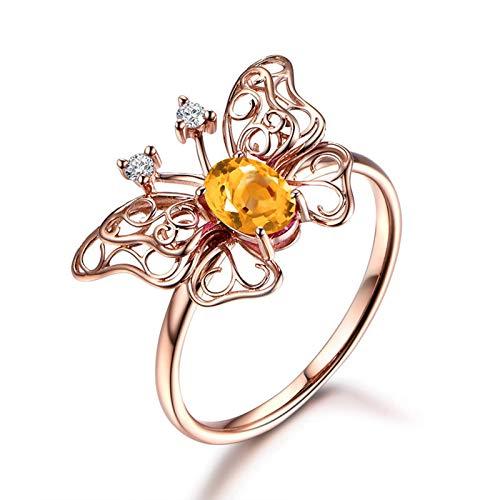SonMo Ring Solitär 925 Sterling Silber Trauringe Paarringe Eheringe Rose Gold Hohl Filigran Schmetterling Ring Solitär Gelb Topas Ovalschliff Ring Frauen 60 (19.1)
