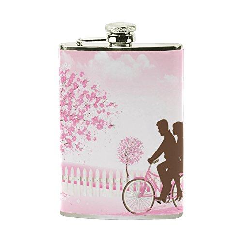jeansame Personalisierte Hip Drink Fläschchen 8Oz Edelstahl für Männer Frauen Valentinstag Geburtstag Hochzeit Blumen