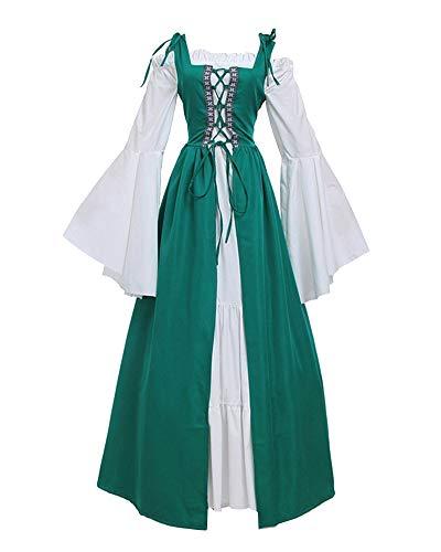 ShiFan Mittelalter-Kostüm Damen Lange Kleider Große Größen Party Kleid Mit Trompetenärmel Dunkelgrün S (Ideen Mittelalter Kostüm)
