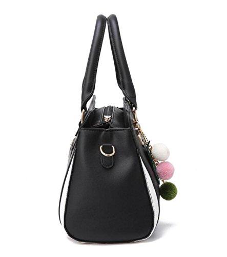 Frauen Handtaschen PU-Leder Umhängetasche Messenger Bag Handtaschen Elegante Einfache Mode Handtasche Schultertasche Damen Handtaschen Black