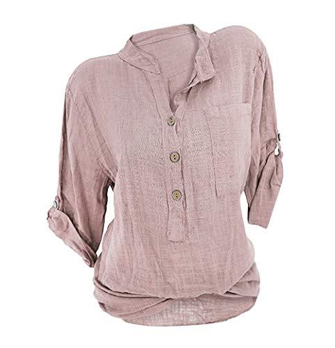 Damen Leinen Langarmshirt Freizeit Bluse V-Ausschnitt Button-Down Locker Hemd Shirt Rosa 46 - Rosa Button Down Shirt