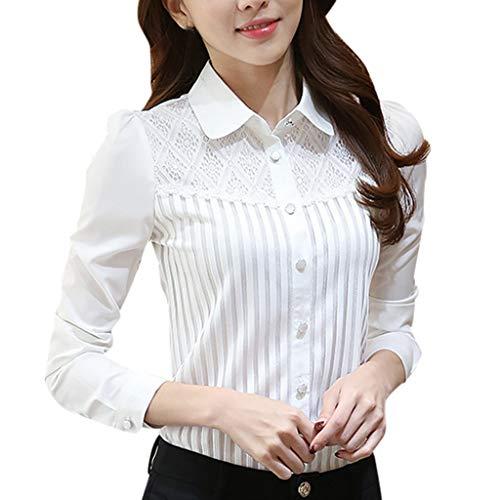 iHENGH Damen Top Bluse Lässig Mode T-Shirt Frühling Sommer Frauen Bequem Blusen Vintage Kragen Plissee Chiffon Button Down Shirt Langarm Spitzen(Weiß, S)