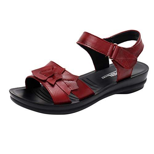 Yvelands Damen Sandalen Mutter Leder Flache weiche Strand römische Schuhe Schuhe(Wein,40) (Römische ära Kostüme)