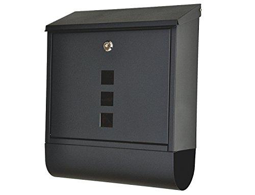 """nanook """"Piazza"""" Briefkasten schwarz - pulverbeschichtet - mit Zeitungsfach - 38,5 cm - für große Briefe und Zeitschriften"""