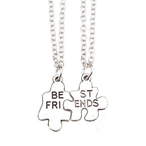Collar de plata, diseño de amistad BEST FRIENDS PUZZLE Colgante 2, 2 canales