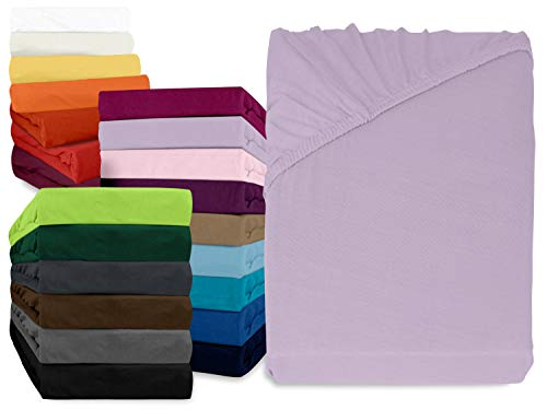 npluseins klassisches Jersey Spannbetttuch - erhältlich in 34 modernen Farben und 6 verschiedenen Größen - 100% Baumwolle, 90-100 x 200 cm, flieder