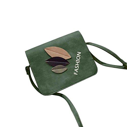 Miaomiaogo Sacchetto di spalla di cuoio di cuoio dell'unità di elaborazione tre lati Bag quadrato casuale del messaggero verde