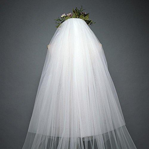 5d4b05846a50 ... pizzo velo da sposa 3 metri di coda lunga Cattedrale mano applique velo  + pettine
